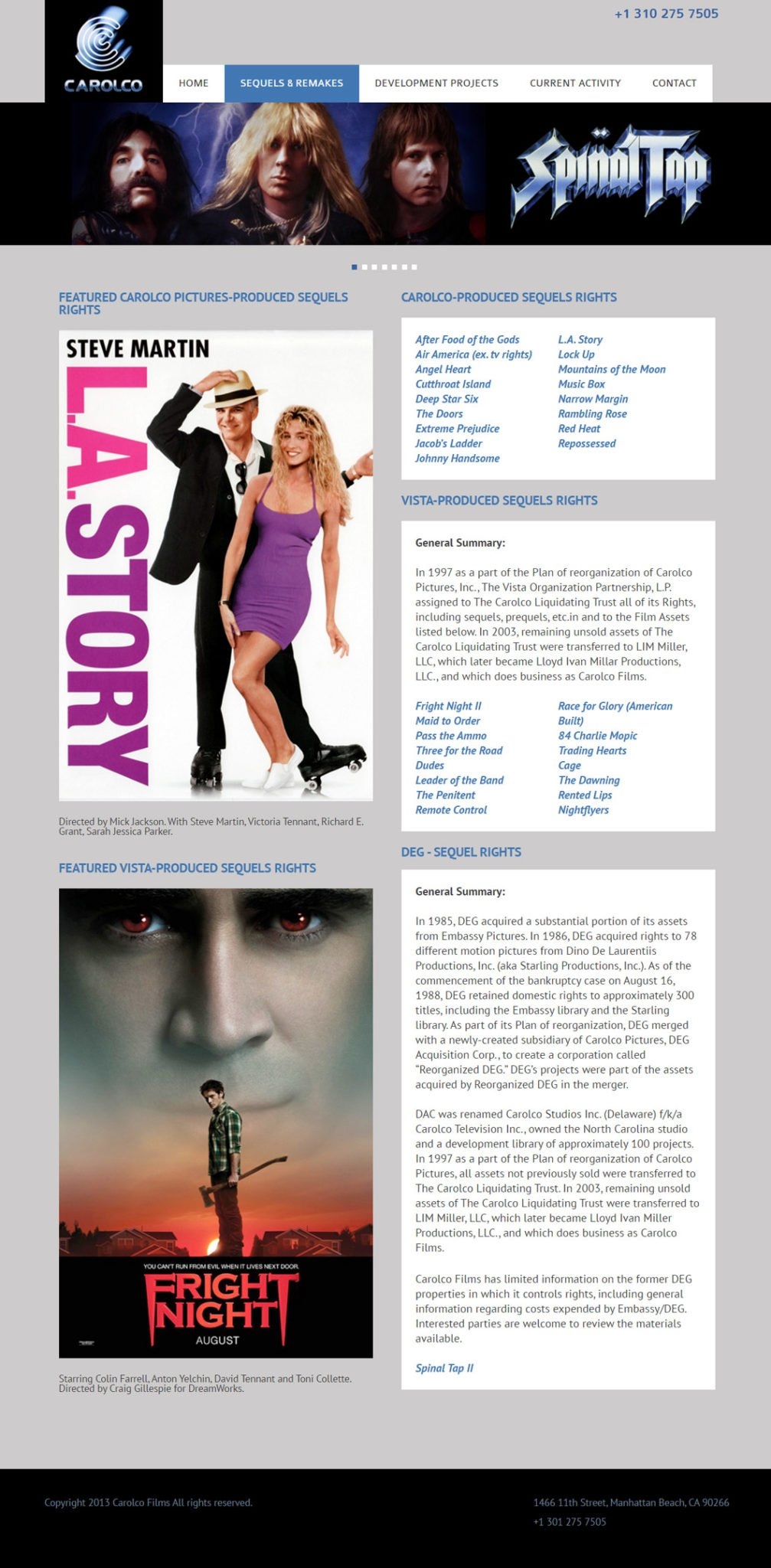 Custom Movie Entertainment Website Carolco Films
