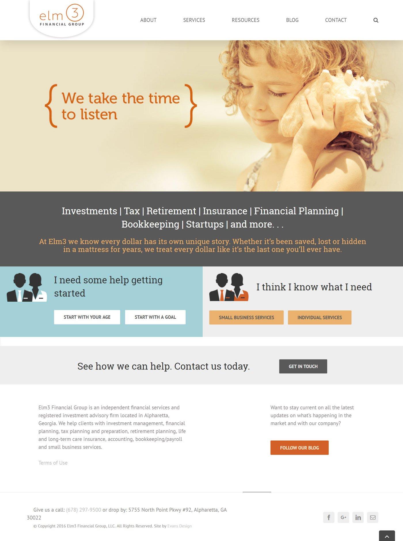 Custom WordPress Website Design for Elm 3 Financial