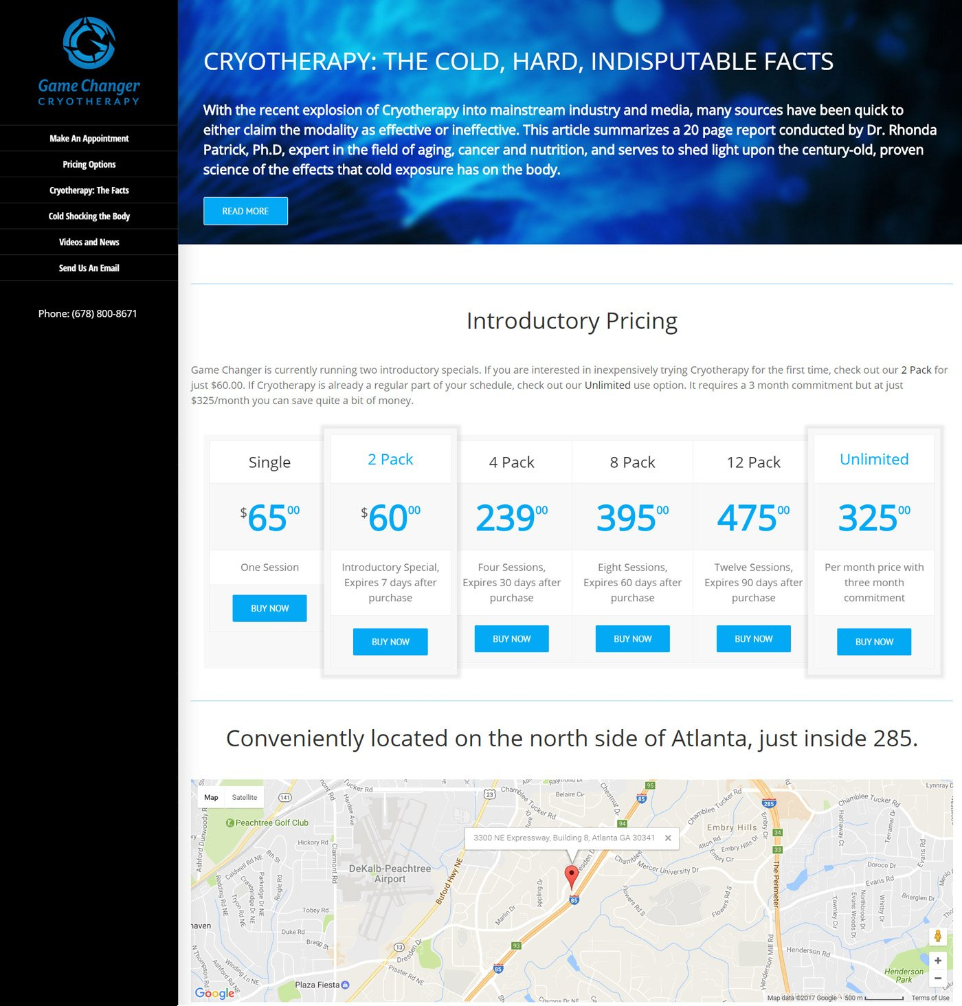 gamechanger cryotherapy website design atlanta