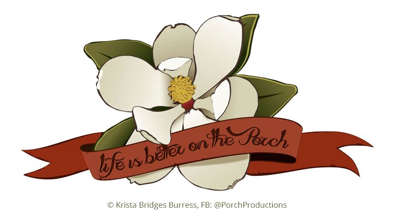 Brand Identity Design for Porch Productions - a custom magnolia graphic by Chip Evans