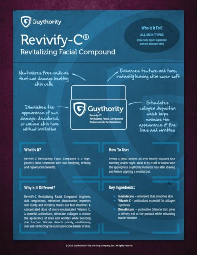 REVIVIFY Sell Sheet Design for Guythority Products