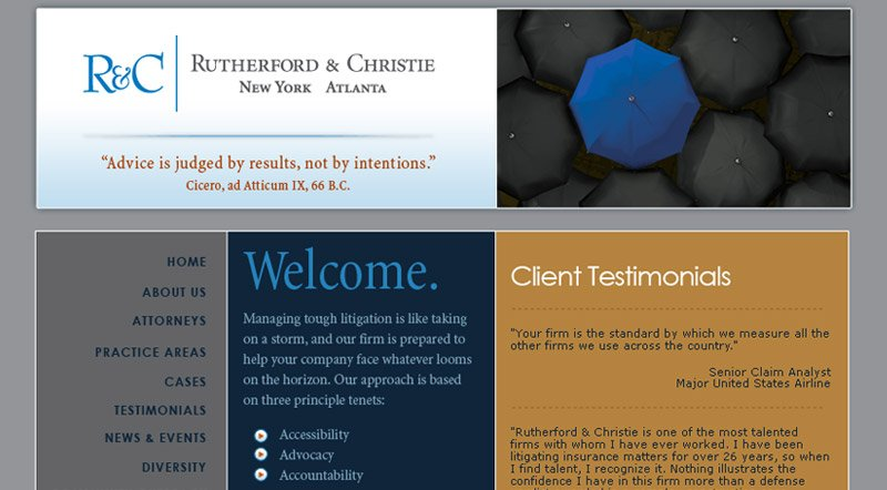 Rutherford and Christie Law Firm Website Design