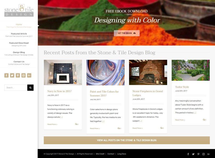 Custom WordPress Website Design for Stone and Tile Design Blog