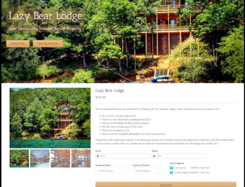 Property Rental E-Commerce Website Design – Lazy Bear Lodge
