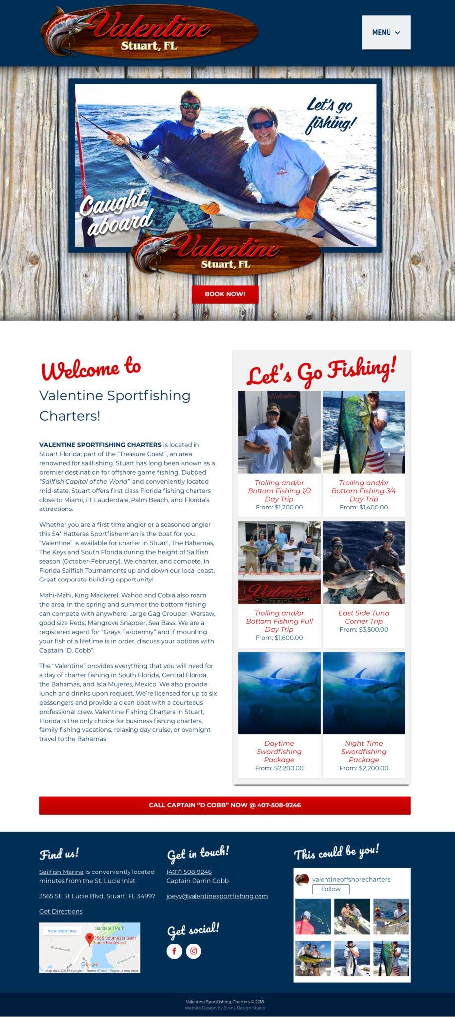 E-Commerce Website Design for Deep Sea Fishing Charter Boat
