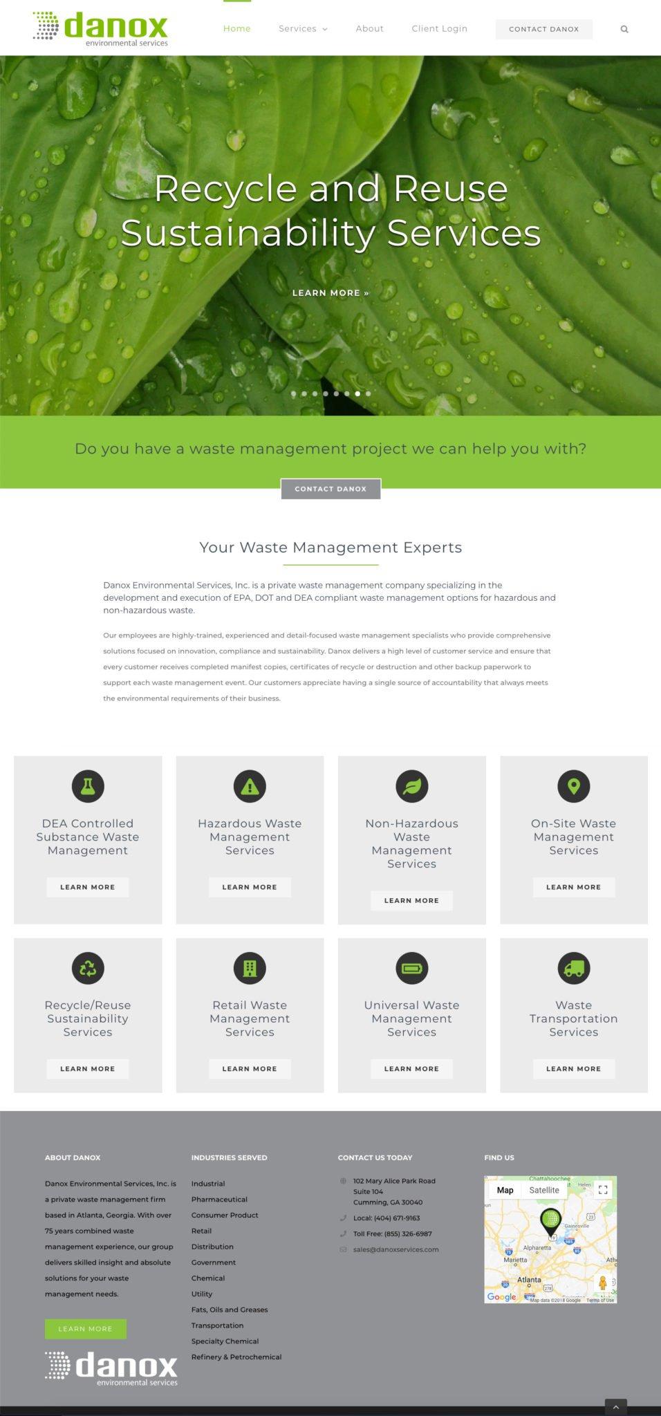 Danox Environmental Services - Atlanta Waste Management Company Website Design