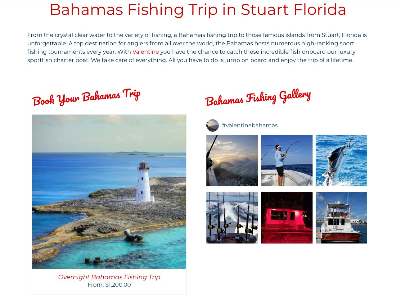 Each Fishing Trip integrates with its own custom Instagram feed.