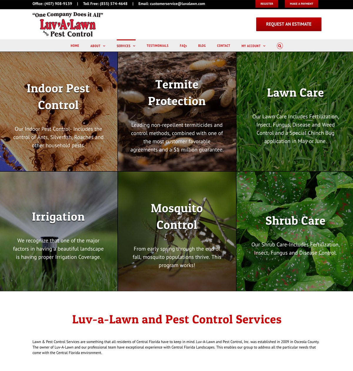 Pest Control Company Website Design