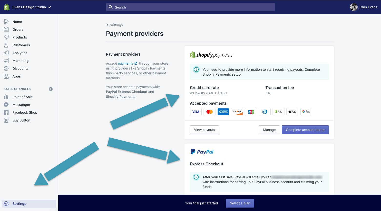 Setting up payment providers by completing the shopify form and setting up PayPal if it isn't already connected.