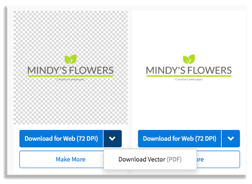 Screen showing the download logo screen with vector PDF option.