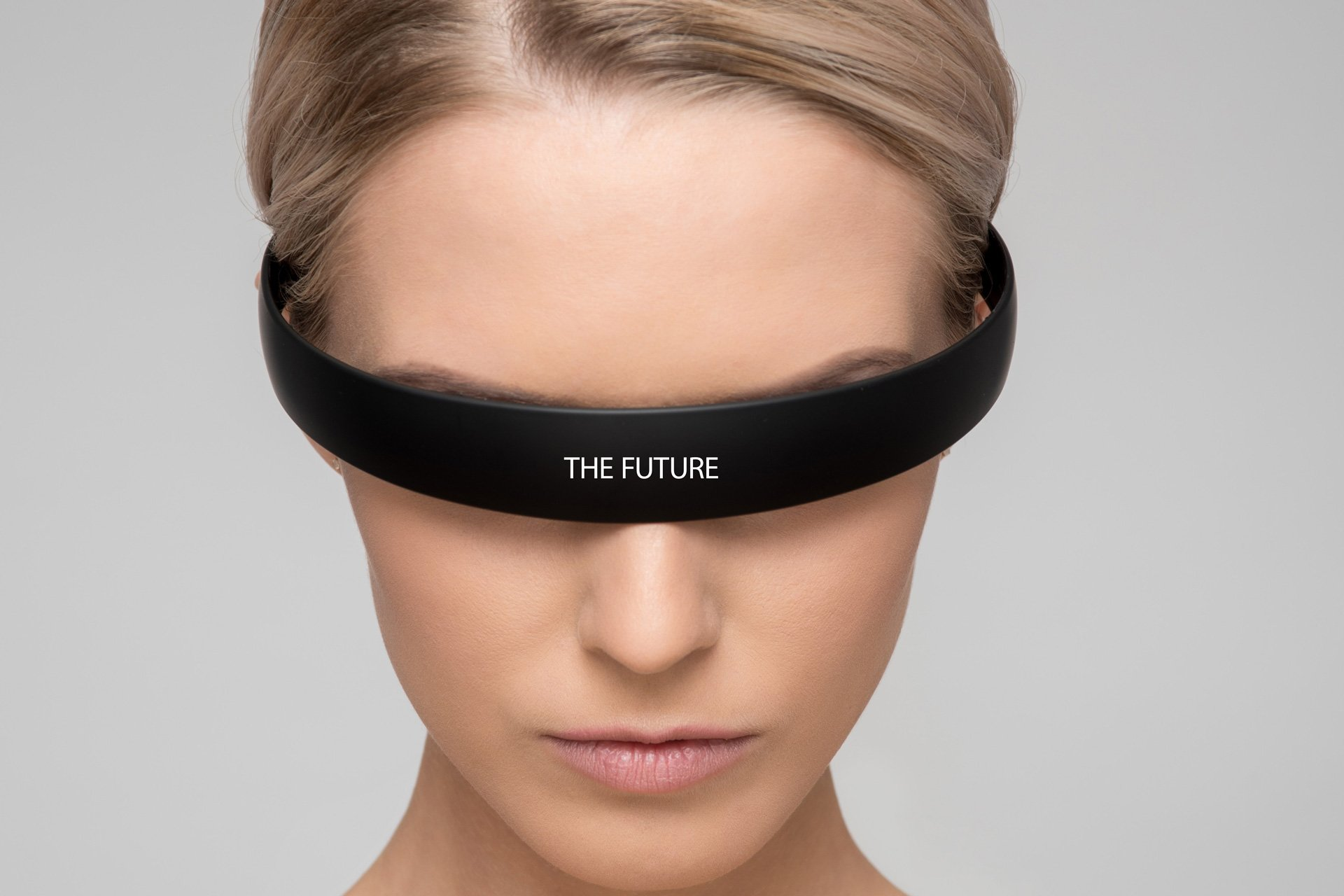 Image of a woman representing artificial intelligence with the future written on her eyewear.