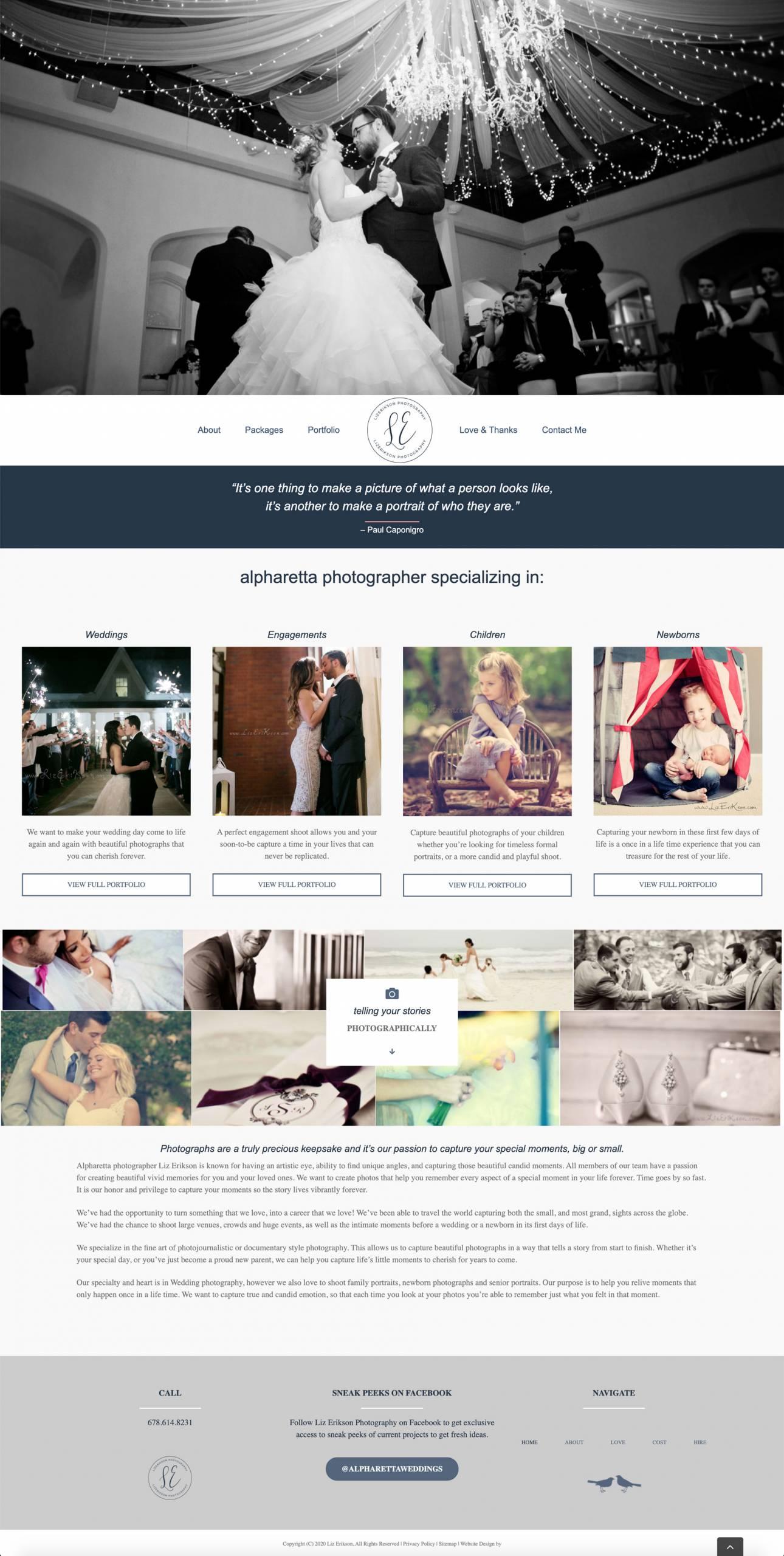 Liz Erikson Photography Website Design