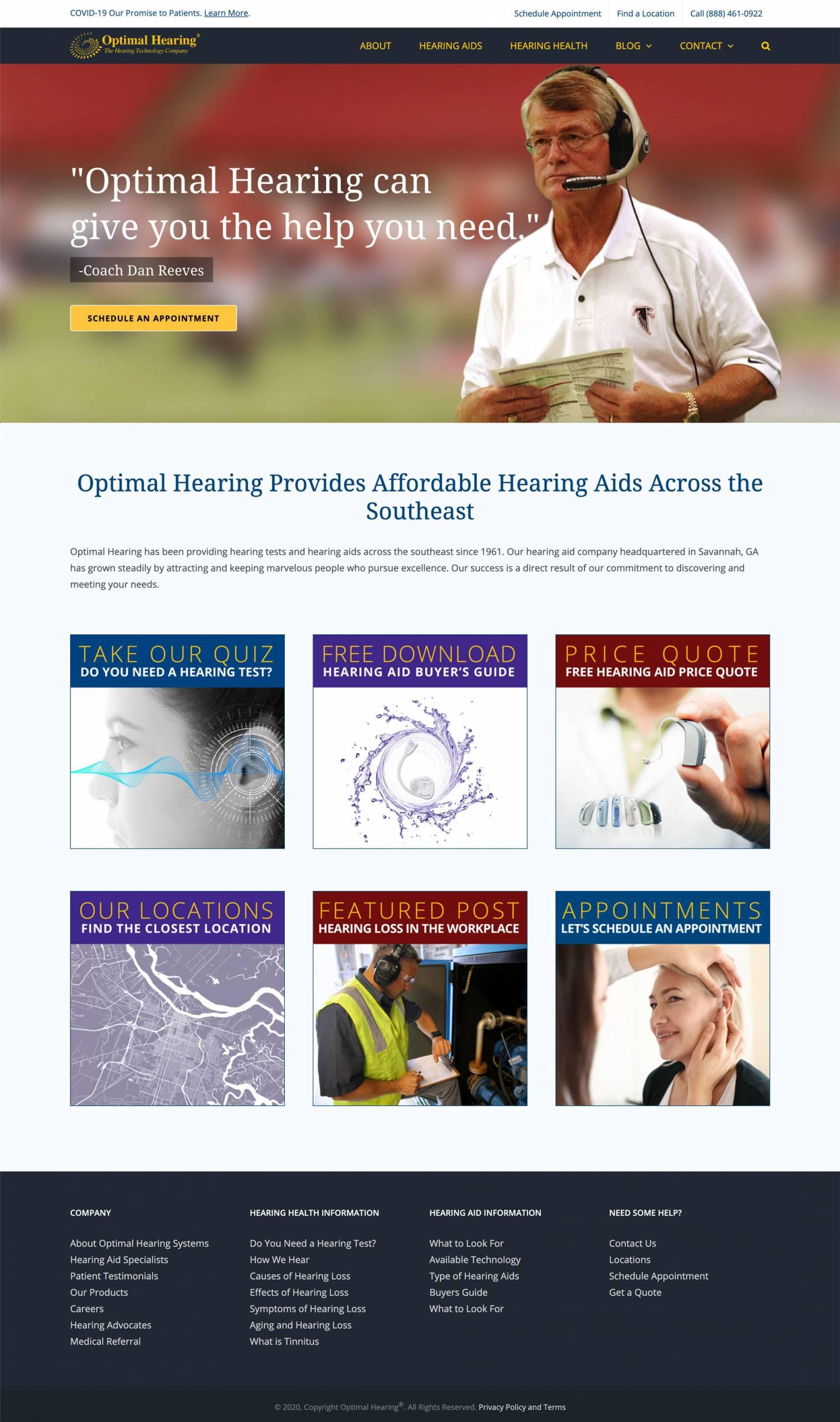 Optimal Hearing Healthcare Website Design