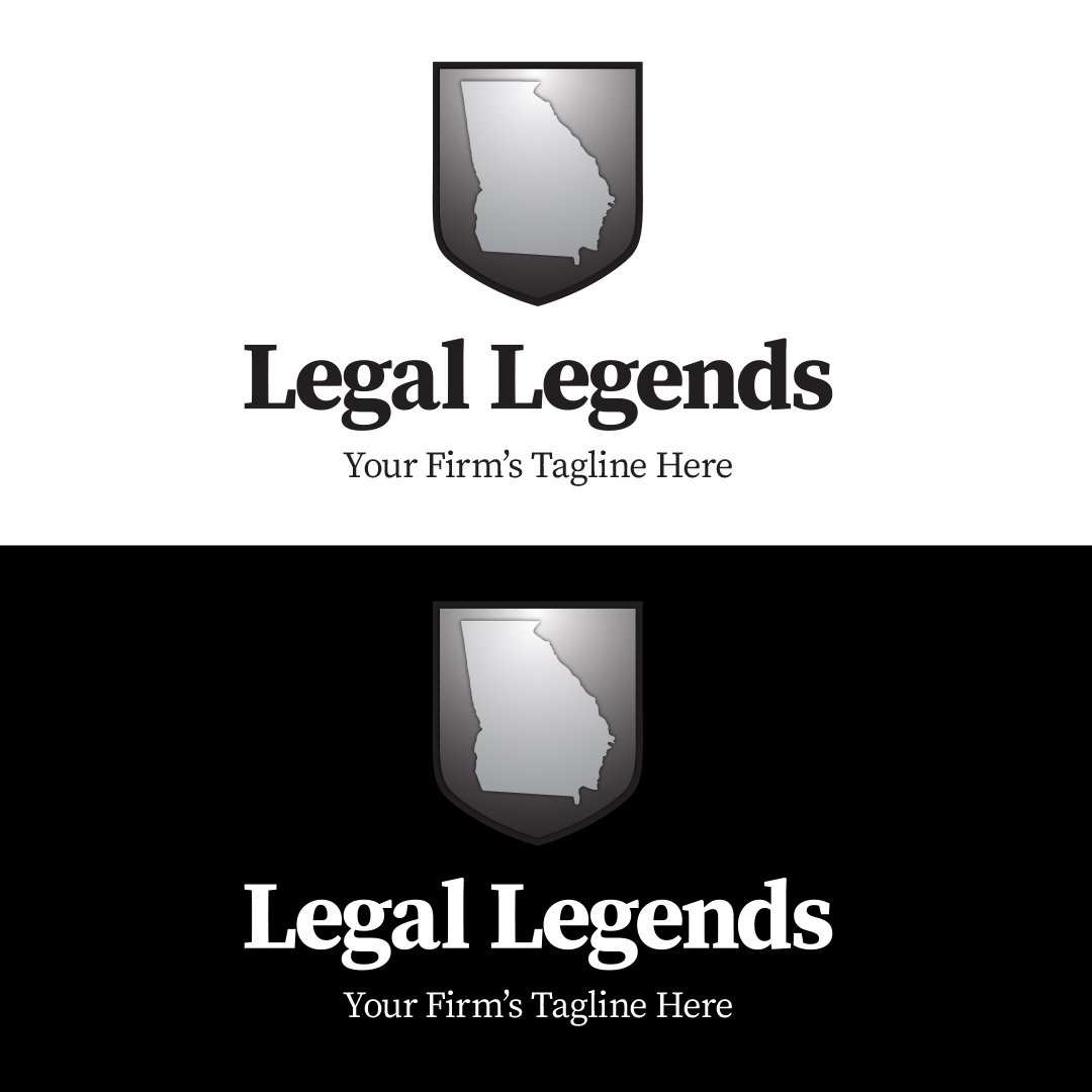 Georgia Shield Legal Logo Vertical Black White