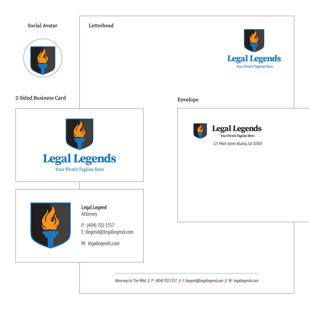 Torch Shield Legal Logo Identity Package Including Social Media Avatar, Letterhead, 2-sided business card layout and #10 envelope