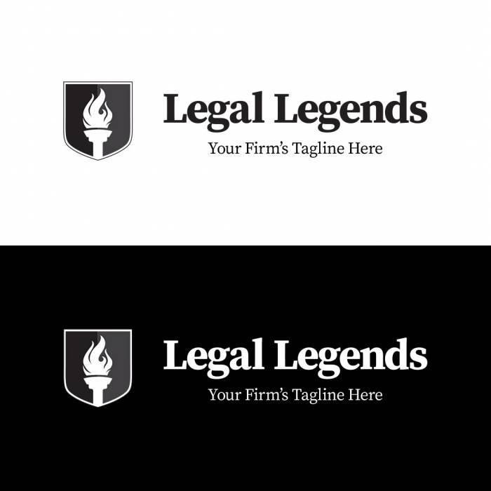 Torch Shield Legal Logo - Horizontal Black and White Logos