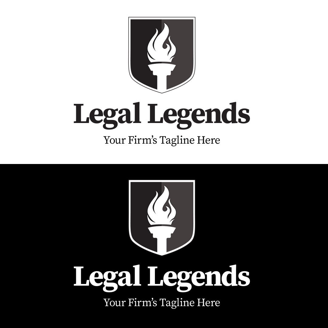 Torch Shield Legal Logo - Vertical Black and White Logos