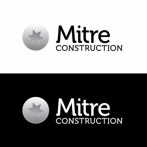 Mitre Construction Company Logo Black White Horizontal