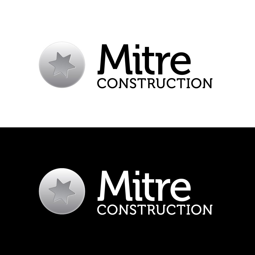 Mitre Construction Company Logo Black White Horizontal