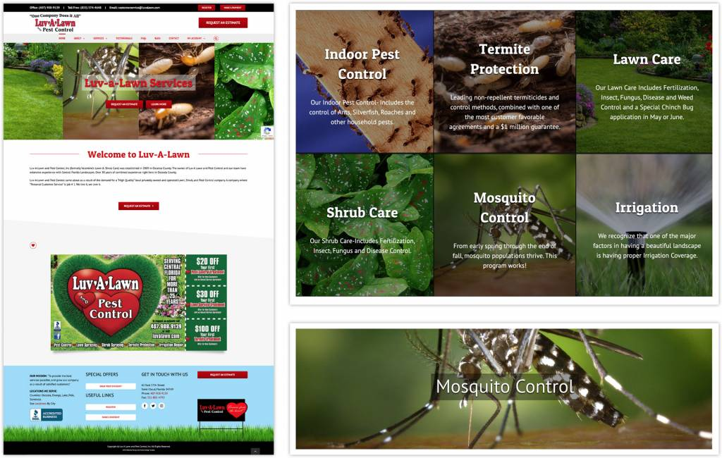 Luv-A-Lawn Pest Control Company Website Design
