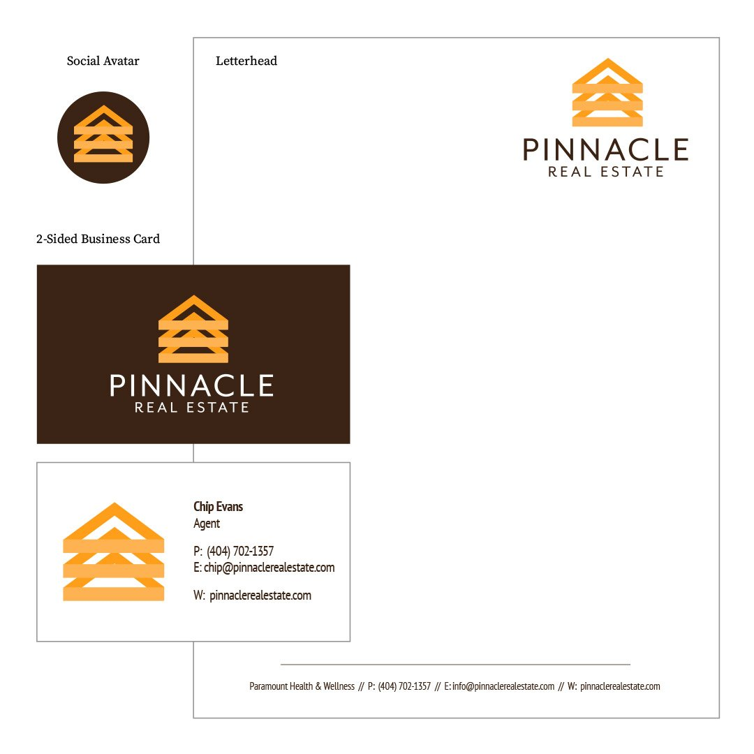 Pinnacle Real Estate Company Logo Identity Package