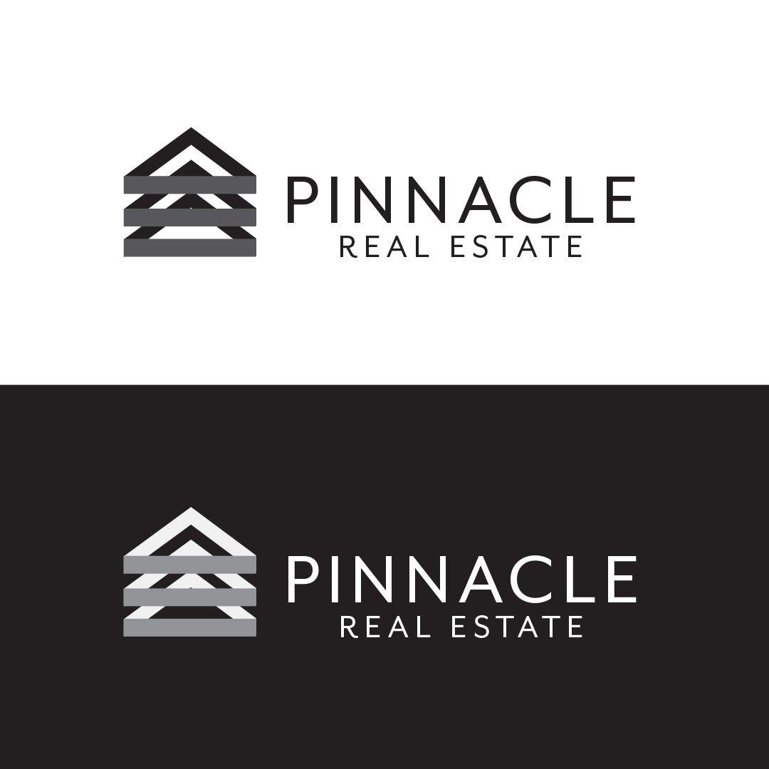 Pinnacle Real Estate Company Logo Horizontal Black White