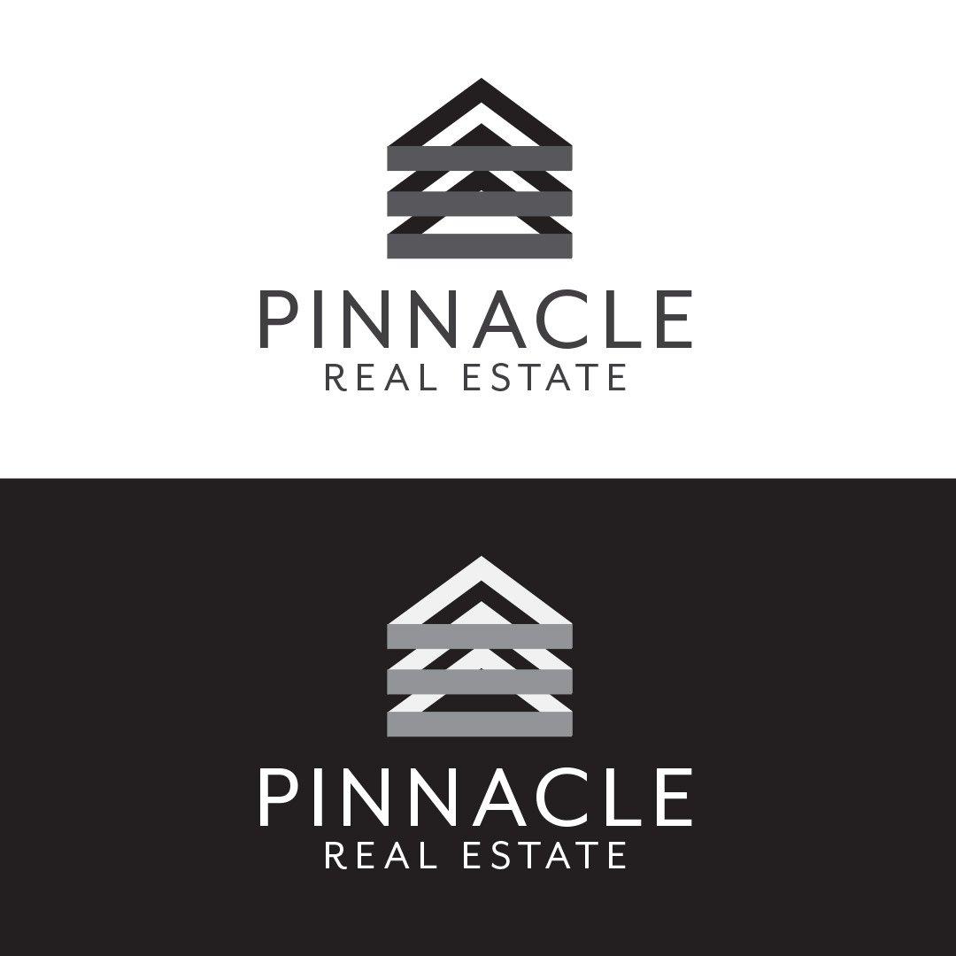 Pinnacle Real Estate Company Logo Vertical Black White