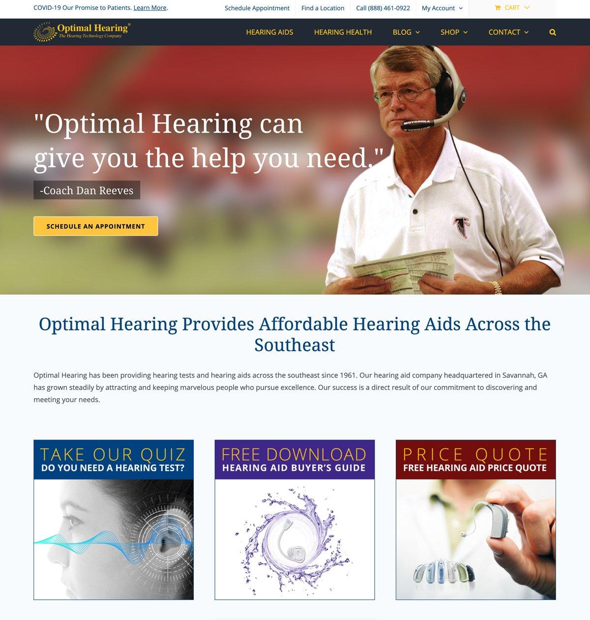 Optimal Hearing Website Design